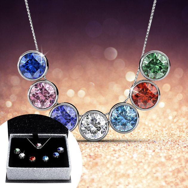 b8aa905a8 h m s Remaining. 7-Day Pendant Necklace Set with Genuine Swarovski Crystals