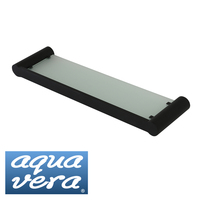Pearl Stainless Steel Glass Shelf in Matte Black