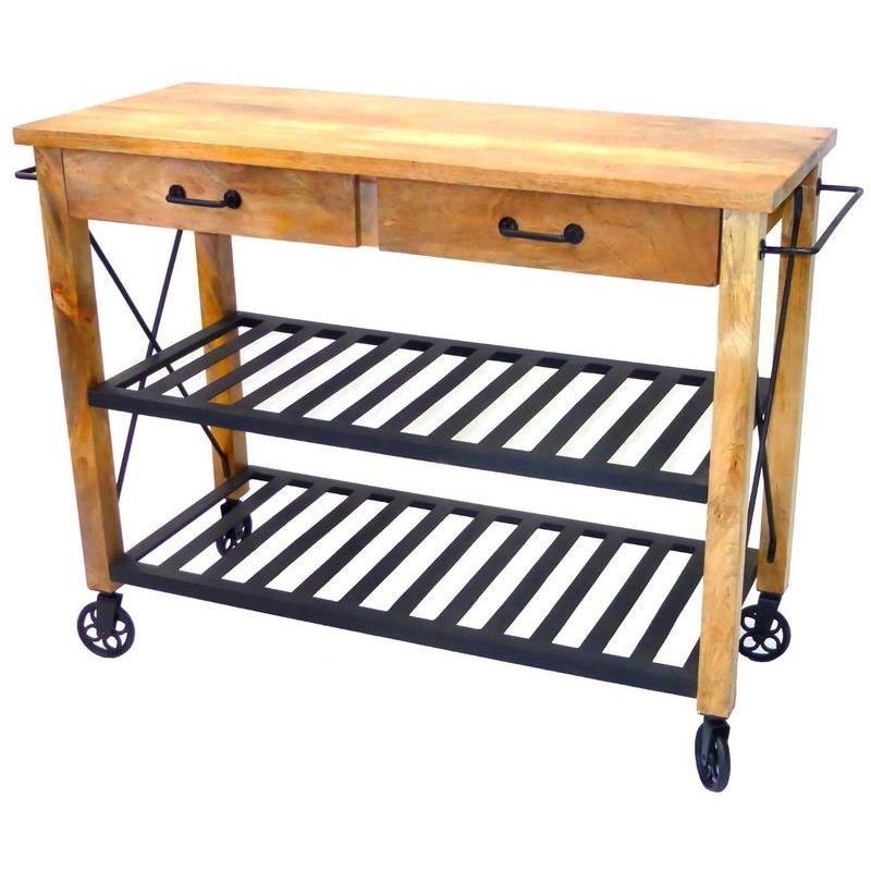 Kitchen Trolley Accessories: Industrial Iron Wood Kitchen Trolley Natural Black