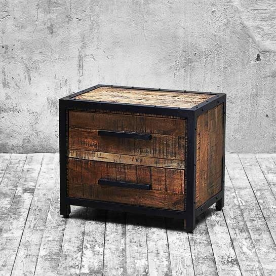 2x rustic metal trimmed mango wood bedside tables buy sale for Wood and metal bedside table