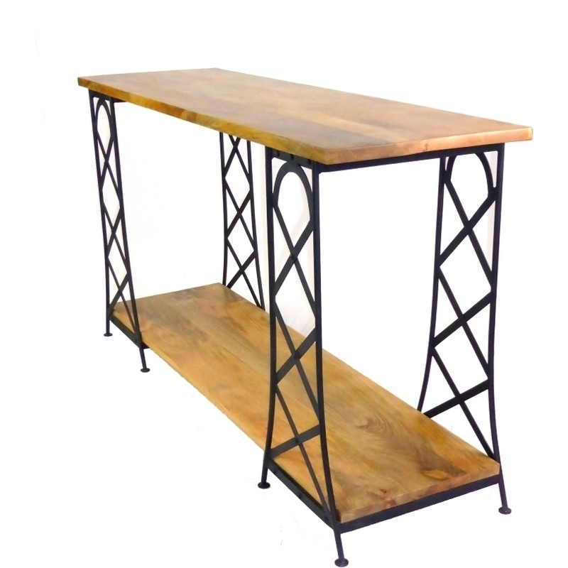 Industrial iron framed and mango wood console table buy