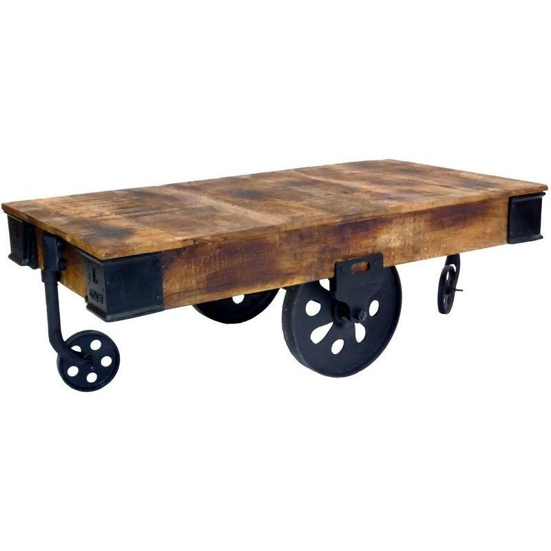 Industrial cart style coffee table w antique wheels buy for Coffee tables on wheels