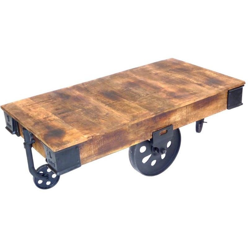 Industrial Cart Style Coffee Table W Antique Wheels Buy Coffee Tables