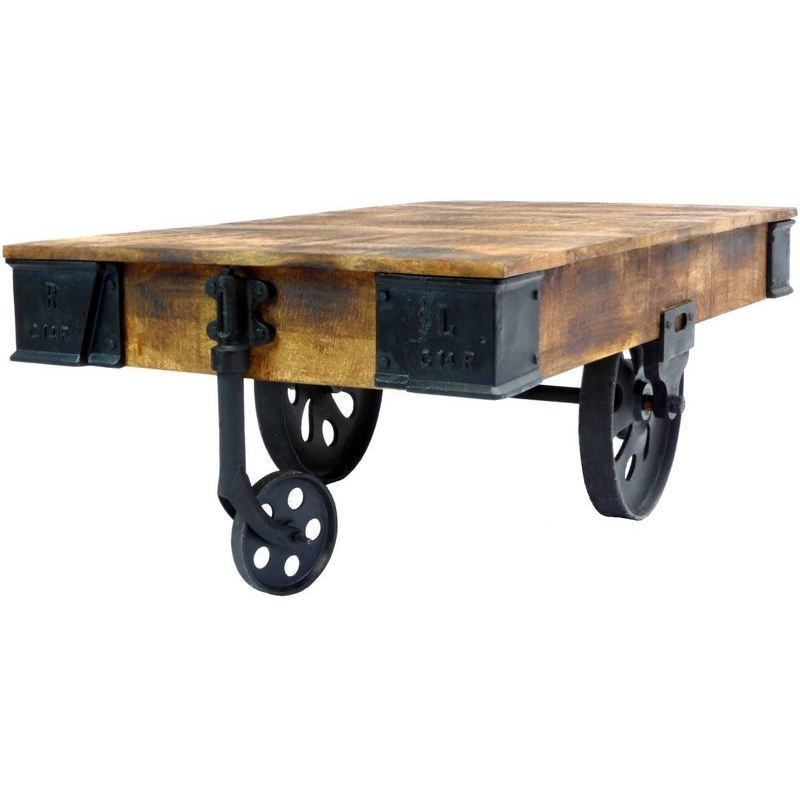 Industrial cart style coffee table w antique wheels buy coffee tables Antique wheels for coffee table