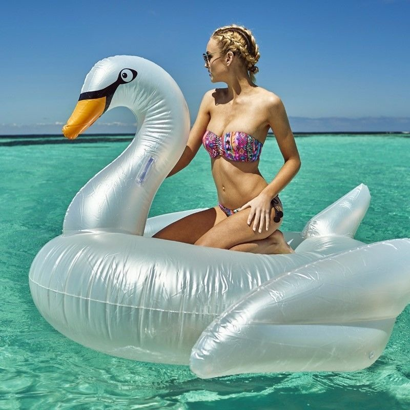 Giant Inflatable Pool Swan Air Float In Pearl White