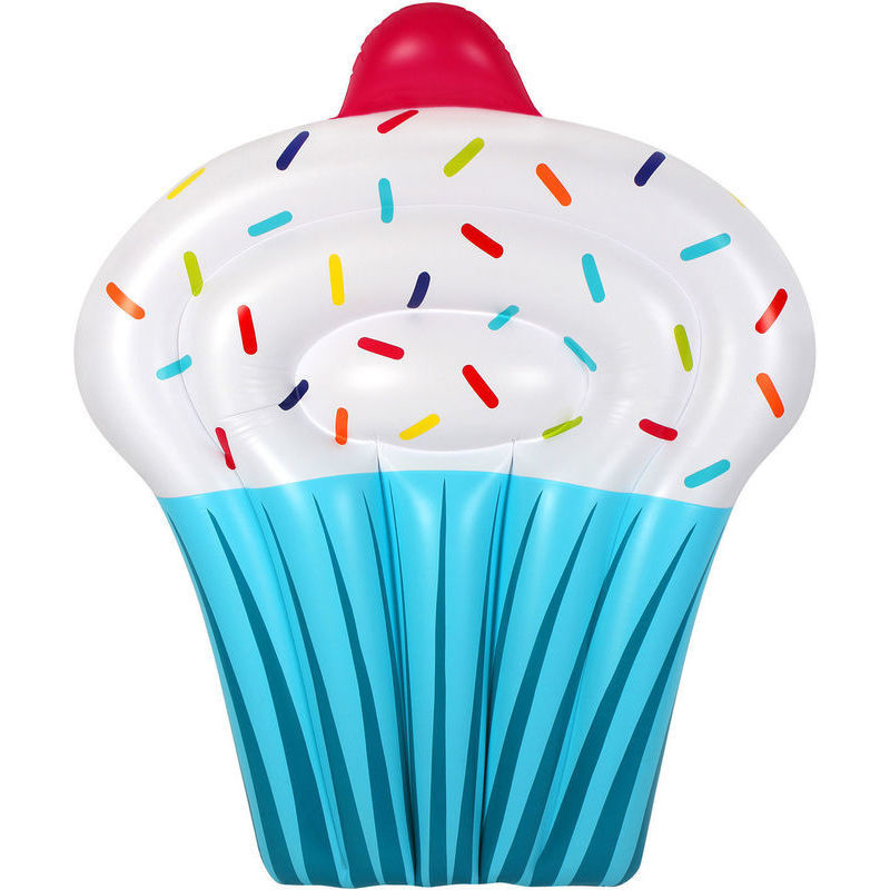 Inflatable Jumbo Cupcake Pool Float In Blue 146cm Buy