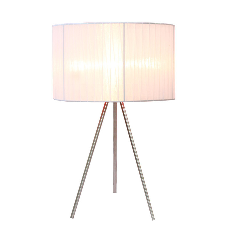 Queena steel tripod floor lamp w white silk shade buy for Tripod floor lamp silver base white shade