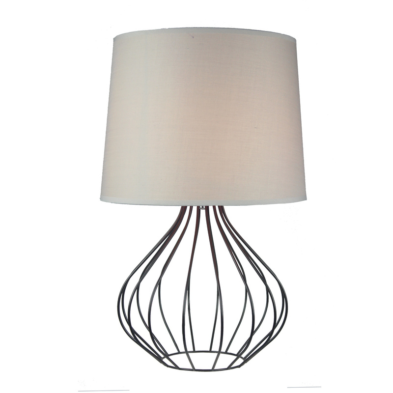 Quta Metal Wire Table Lamp In Black With Grey Shade Buy