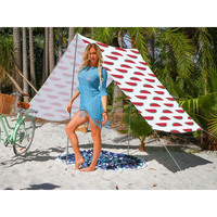 Good Vibes Summer Beach Tent in Watermelon Print