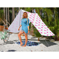 Good Vibes Summer Beach Tent in Flamingo Print