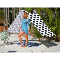 Good Vibes Summer Beach Tent in Black Spots Pattern