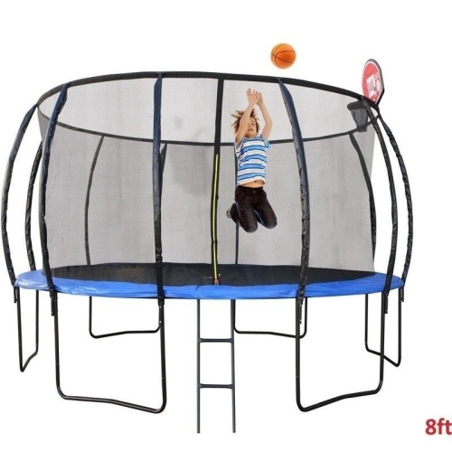 8ft Round Trampoline With Ladder Shoe Bag And Hoop