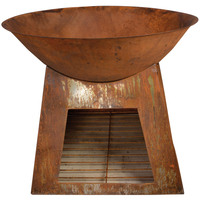Rustic Outdoor Fire Pit Bowl with Storage Base 71cm