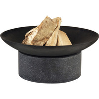 Round Granito Stone Outdoor Open Fire Pit in Black
