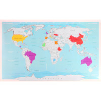Deluxe Travel World Scratch Map Poster w Carry Tube