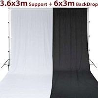 Photography Backdrop w/ Stand Set in Black & White