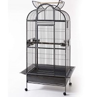 Wrought Iron Open Roof Bird Cage w/ Perch & Castors