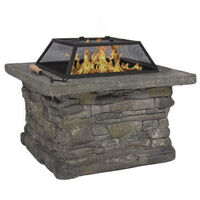 Crestline Stone Base Outdoor Fire Pit w/ BBQ Grill