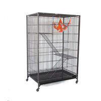Steel Ferret Bird Cage with Castors in Black 145cm