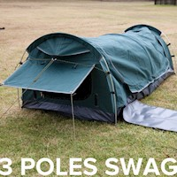 Single Canvas Camping Swag with 3 Aluminium Poles