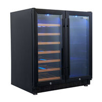 Husky 31 Bottle 2 Door Wine Fridge w Black Trim 84L