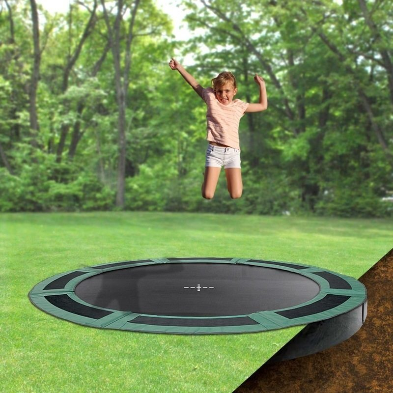 Round In-Ground Enclosed Trampoline Black 135kg 8ft