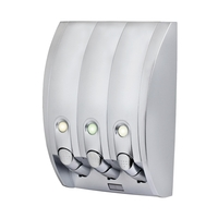 Curve Wall Mounted Triple Soap Dispenser in Silver