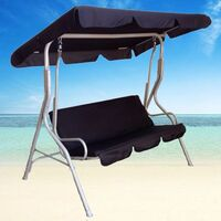 3 Seat Swing Outdoor Hanging Chair Bench in Black