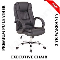 PU Leather High Back Executive Office Chair - Black
