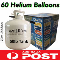 Pure Helium Tank Party Kit w/ 60 Balloons 22.6kg
