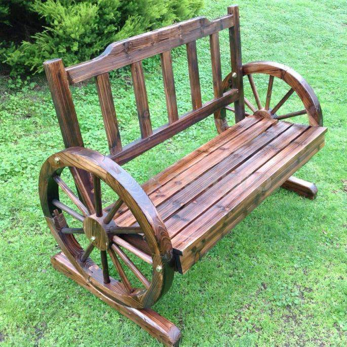 Outdoor Wooden 2 Seater Wheel Garden Bench 1.1m