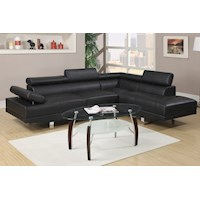 Alpha 4 Seat Bonded Leather Sofa w/ Chaise in Black