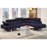 Alpha 4 Seat Linen Fabric Sofa with Chaise in Blue