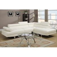 Alpha 4 Seat Bonded Leather Sofa w/ Chaise in White