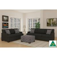 Bahama 5 Seater Linen Sofa Set with Ottoman - Slate