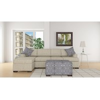 3pc Bahama Sofa w/ Left Chaise & Ottoman in Straw