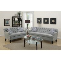 Bermuda 5 Seat Linen Fabric Sofa Set in Light Grey