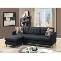 Charlie 4 Seat Suede Fabric Sofa w/ Chaise in Black