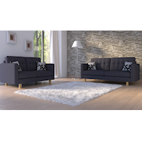 London Linen Fabric 5 Seater Sofa Set in Charcoal