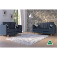 London 5 Seater Linen Fabric Sofa Set in Emerald