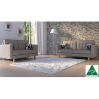 London 5 Seater Linen Fabric Sofa Set in Natural