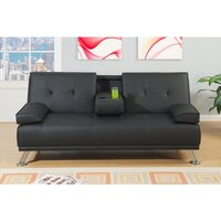 Manhattan 2 Seat Bonded Leather Sofa Bed in Black