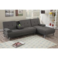 Manhattan Fabric Upholstered Sofa Bed w/ Chaise Ash