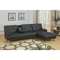 Manhattan Bonded Leather Sofa Bed w/ Chaise Black