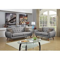 2pc Uno Linen Fabric  5 Seat Sofa Set in Light Grey