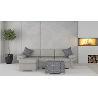 Wembley Linen Sofa w/ Left Chaise & Ottoman in Grey