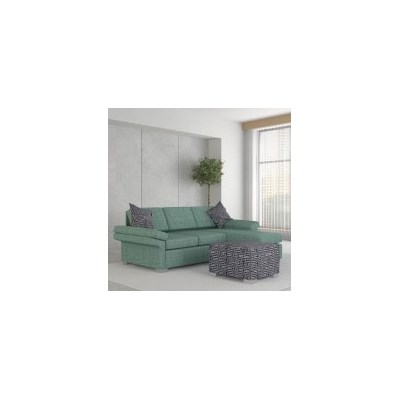 Wembley Linen Sofa w/ Right Chaise & Ottoman - Jade