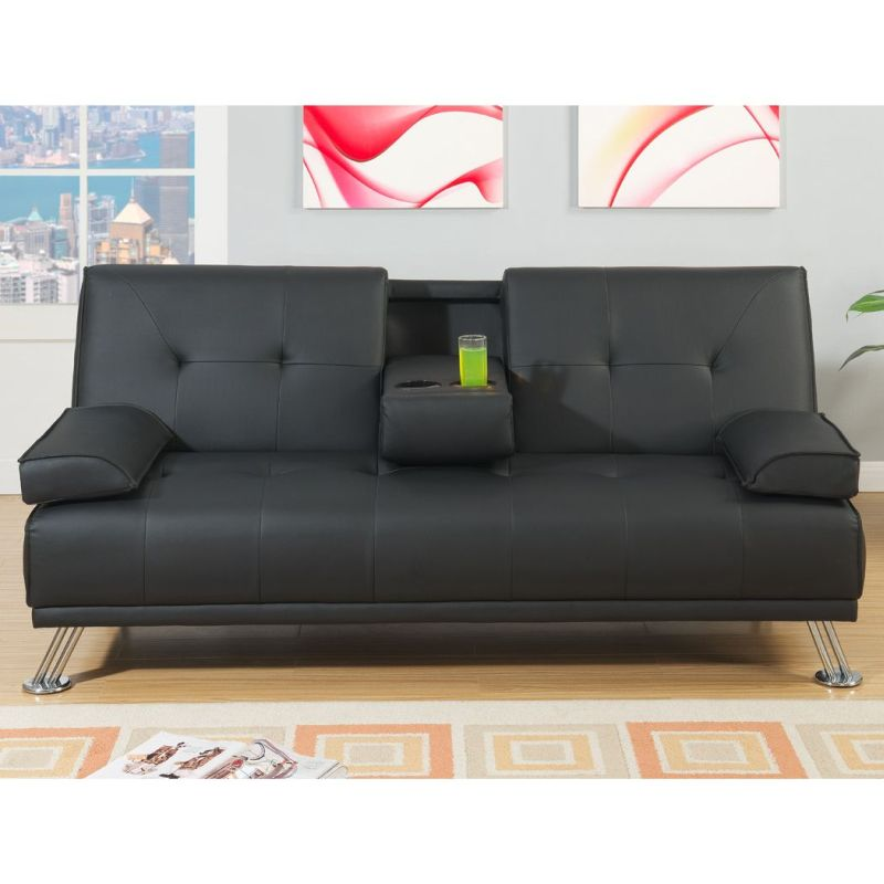 Manhattan 2 Seat Bonded Leather Sofa Bed In Black Buy