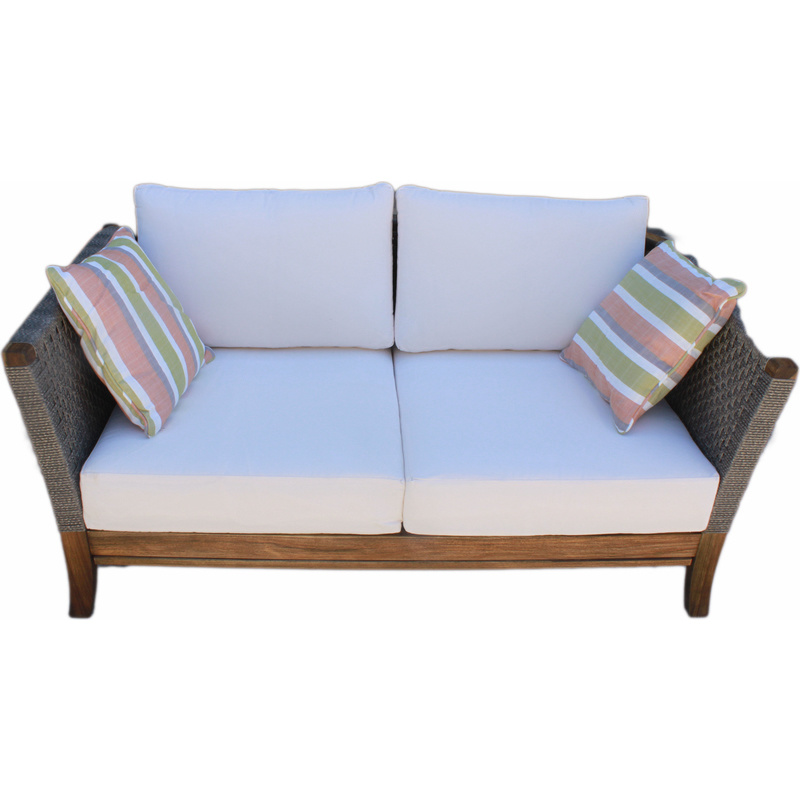 Outdoor 2 Seat Wicker & Wood Sofa Lounge with Cushions | Buy Outdoor ...