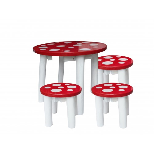 Toadstool Chairs: 4pc Toadstool Themed Kids WPC Table & 3 Stools Set